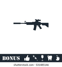 Assault carbine icon flat. Vector illustration symbol and bonus pictogram