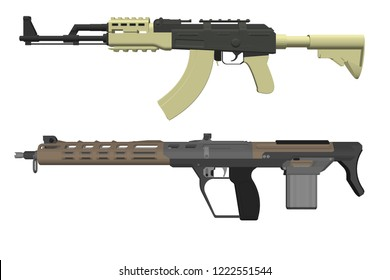 assault carbine m4a1 isometric. M16 rifle3d vector illustration. M16a2 isolated on white background
