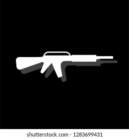 Assault carbine. White flat simple icon with shadow