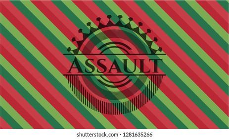 Assault christmas emblem background.