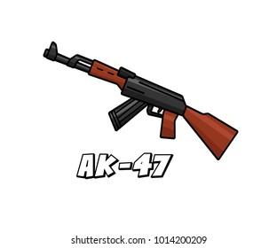 assault riffle weapon model ak47 cartoon design illustration