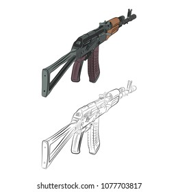 the assault rifle ak 47 contour drawing in pencil