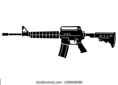 Assault rifle AR-15 Carbine silhouette