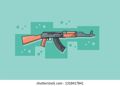 Assault rifle with combat knife / flat illustration / A vector illustration of a Kalashnikov AK-47 assault rifle. Kalashnikov AK-47 assault rifle Icon illustration. Weapon firearm terrorism concept -