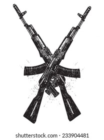 Assault rifle crossing silhouettes on white background