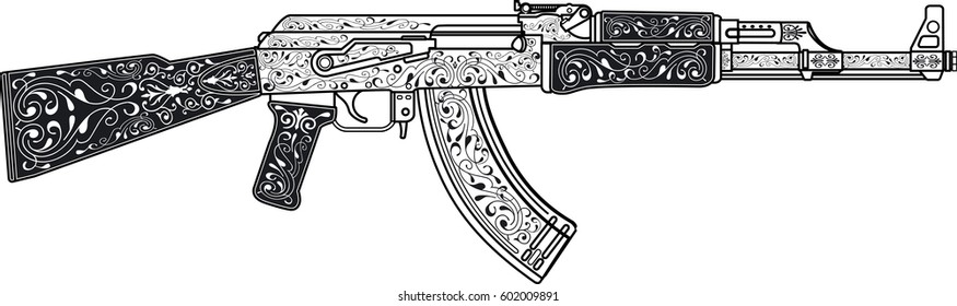 assault rifle with ornaments