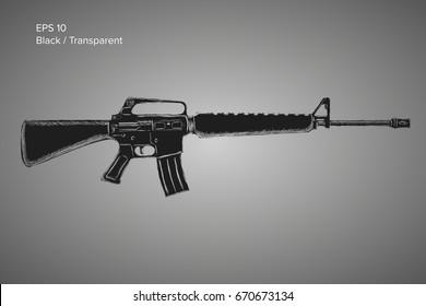 Assault rifle sketch. Classic armament vector illustration.