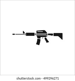 Assault rifle symbol sign silhouette icon on background