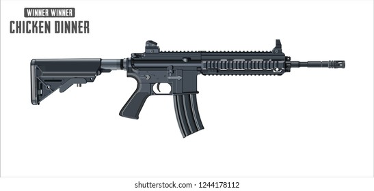 Assault rifle vector isolated on white background - Assault rifle weapon. game vector illustration isolated on white background