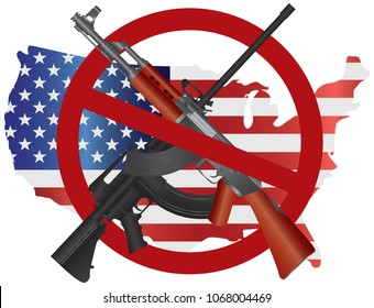Assault Rifles AR 15 and AK 47 Semi Automatic Weapons ban symbol on USA Map Flag Second Amendments Constitution vector Illustration