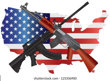 Assault Rifles Semi Automatic Weapons on USA - Second Amendment Constitution Illustration Vector