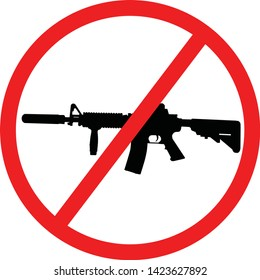 Assault Weapons Ban (AWB) in the United States. Assault rifle AR-15 black silhouette