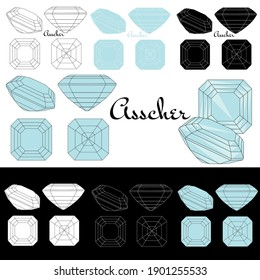 Asscher cut. Cutting gems stones. Types of diamond cut. Four sides of jewelry with facets for background, carving and coloring. Black, white and color variants.
