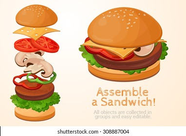 Assemble burger, collect, assemble, Hamburger, sandwich filling, fast food