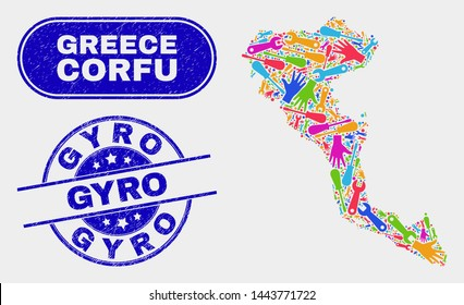 Assemble Corfu Island map and blue Gyro distress stamp. Bright vector Corfu Island map mosaic of tools elements. Blue round Gyro stamp.