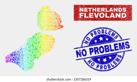 Assemble Flevoland Province map and blue No Problems distress seal. Rainbow colored gradiented vector Flevoland Province map mosaic of service. Blue round No Problems seal.