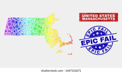 Assemble Massachusetts State map and blue Epic Fail textured seal. Rainbow colored gradiented vector Massachusetts State map mosaic of industrial. Blue round Epic Fail seal.