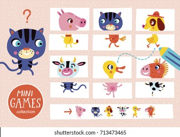 Assemble the pictures. Mini games collections. Farm animals.