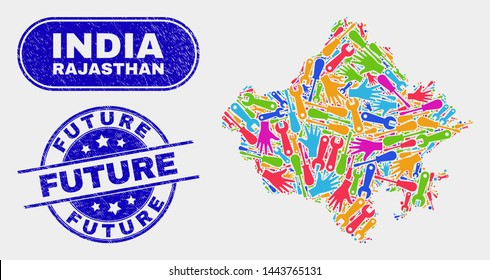 Assemble Rajasthan State map and blue Future textured seal. Bright vector Rajasthan State map mosaic of equipment items. Blue round Future seal.