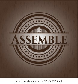 Assemble wood icon or emblem