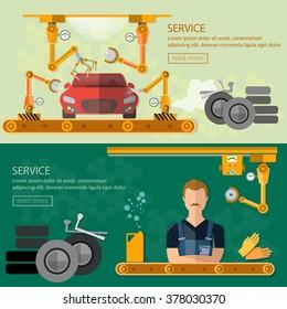 Assembling cars factory car repair banners conveyor belt operator automate process vector illustration