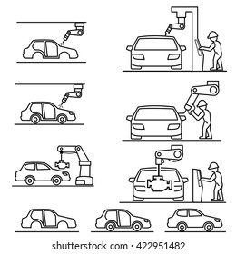 Assembly car, factory Icons