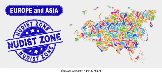 Assembly Europe and Asia map and blue Nudist Zone grunge seal stamp. Colorful vector Europe and Asia map mosaic of machinery. Blue round Nudist Zone stamp.