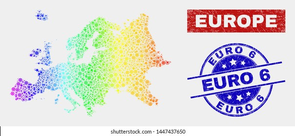 Assembly Europe map and blue Euro 6 grunge seal. Colorful gradient vector Europe map mosaic of equipment elements. Blue rounded Euro 6 seal.