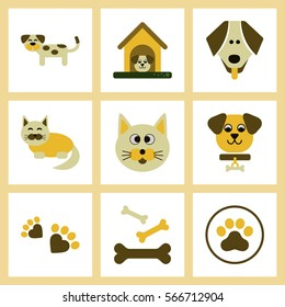 assembly of flat icons dog cats pets