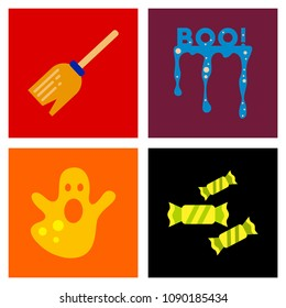 assembly flat icons halloween boo ghost candies Witch's broom