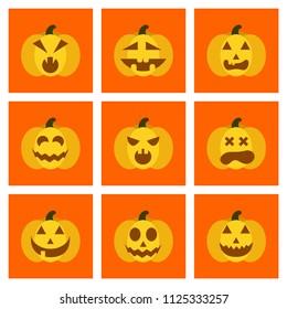 assembly flat icons halloween emotion pumpkin