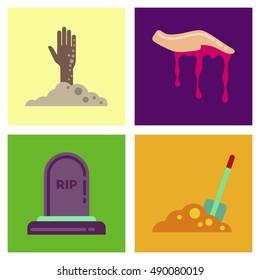 assembly flat icons halloween zombie hand grave Plot shovel