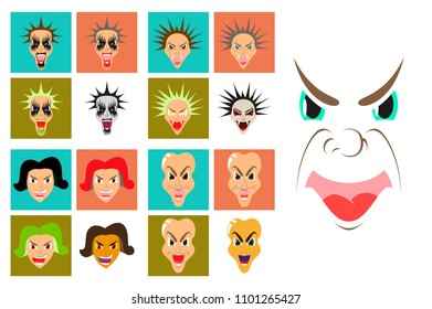 assembly of flat icons on theme evil faces