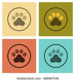 assembly of flat icons pet dog trail