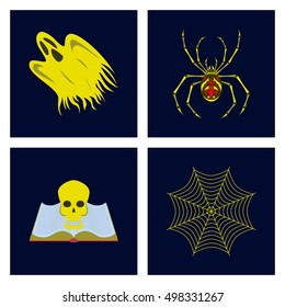 assembly flat illustration zombie men ghost spider book skull