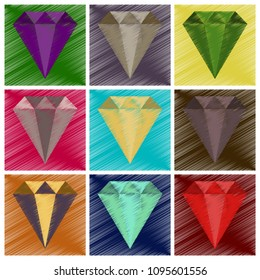 assembly flat shading style icon diamond expensive jewelery