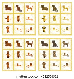 assembly flat shading style icons cartoon tiger lion panther leopard