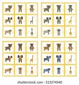 assembly flat shading style icons giraffe bull bear elephant