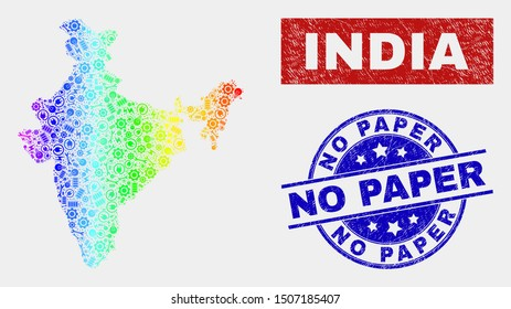Assembly India map and blue No Paper scratched seal stamp. Spectral gradient vector India map mosaic of production units. Blue rounded No Paper seal.