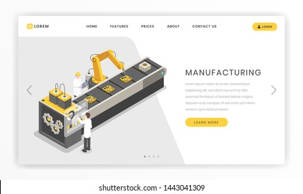 Assembly line, factory landing page template. Production, manufacturing facility engineers and workers vector online webpage illustration. Conveyor belt, autonomous manufacture process  website