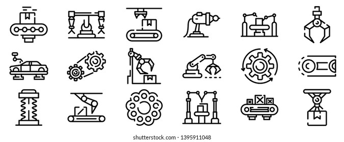 Assembly line icons set. Outline set of assembly line vector icons for web design isolated on white background