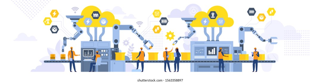 Assembly line with robotic arms flat illustration. Male and female factory workers, engineers cartoon characters. Automated production process, high tech machinery. Industrial revolution concept