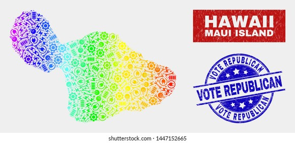 Assembly Maui Island map and blue Vote Republican distress seal stamp. Spectral gradiented vector Maui Island map mosaic of repair elements. Blue rounded Vote Republican seal.