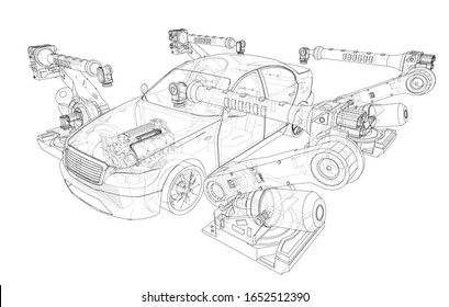 Assembly of motor vehicle. Robotic equipment makes Assembly of car. Blueprint style. Vector rendering from 3D model