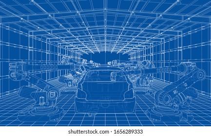 Montage von Kraftfahrzeugen. Roboterausrüstung macht die Montage des Autos. Blueprint-Stil. Vektorillustration-Rendering aus 3D-Modell