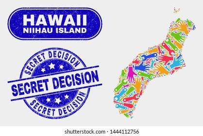 Assembly Niihau Island map and blue Secret Decision distress seal stamp. Colored vector Niihau Island map mosaic of workshop. Blue round Secret Decision stamp.