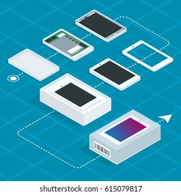 Assembly of the phone. Isometric vector illustration