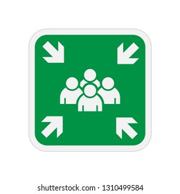 Assembly Point Icon. Evacuation Plan Illustration As A Simple Vector Sign & Trendy Symbol for Design and Evacuation Rule Websites, Presentation or Mobile Application, Flat & Trendy Logo Template.