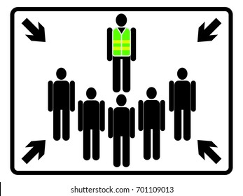 Assembly point sign on white background. Meeting point icon for evacuation. Gathering point signboard. EPS10 vector illustration for poster, sticker, sign, symbol, banner, template, print.