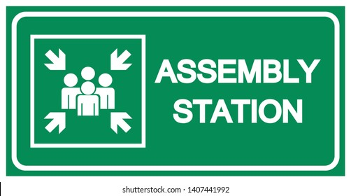 Assembly Station Symbol Sign, Vector Illustration, Isolated On White Background Label .EPS10